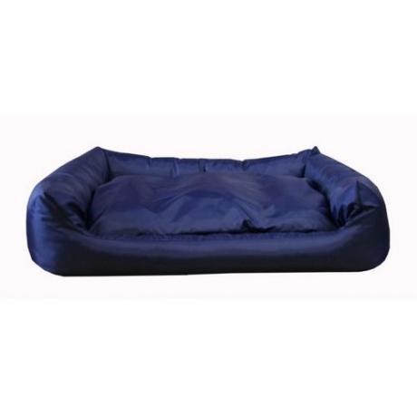 """Лежак прямоугольный """"Оксфорд"""" с подушкой (Темно-синий)"""