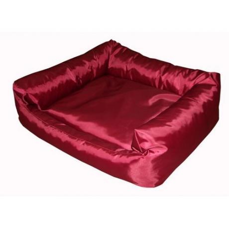 """Лежак прямоугольный """"Оксфорд"""" с подушкой (Бордовый)"""