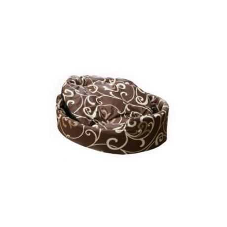 """Лежак """"Markiza"""" со съемным чехлом и подушкой (коричневый с завитками)"""