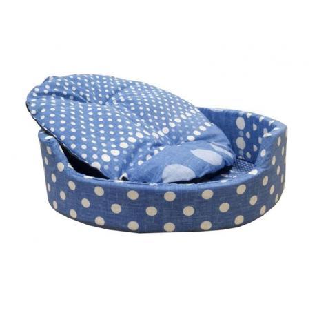 """Лежак """"Markiza"""" со съемным чехлом и подушкой (горохи на голубом фоне)"""