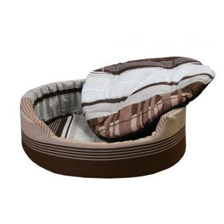 """Лежак """"Markiza"""" со съемным чехлом и подушкой (коричнево-серый)"""