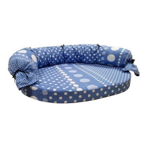 Диван с завязками, поплин (горохи на голубом фоне)