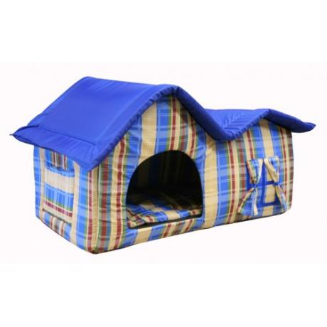 Домик мягкий с двойной крышей (сине-бежевый) большой