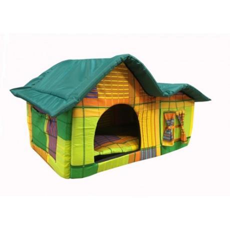 Домик мягкий с двойной крышей (желто-зеленый) большой