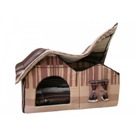 Домик мягкий с двойной крышей (коричнево-серый) большой