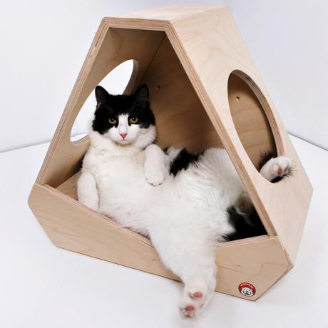 Кошачий домик «Приют астронавта» деревянный