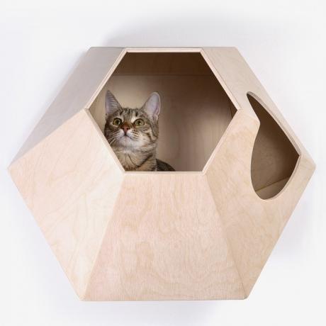 """Домик для кошки на стену """"Лунокот-1"""" деревянный"""