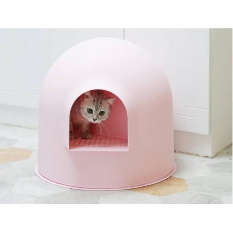 """Закрытый лоток для кошки Pidan """"ИГЛУ"""", розовый"""