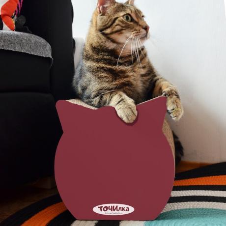 Когтеточка из картона Китти красный