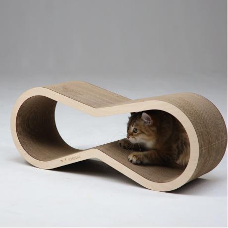 Когтеточка из картона с деревянным ободком Айс светлый