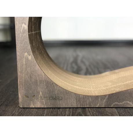Когтеточка из картона с деревянным ободком Аквариум темный