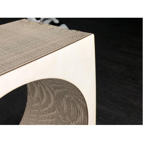 Когтеточка из картона с деревянным ободком Аквариум светлый