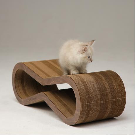 Когтеточка из картона с деревянным ободком Экватор темный