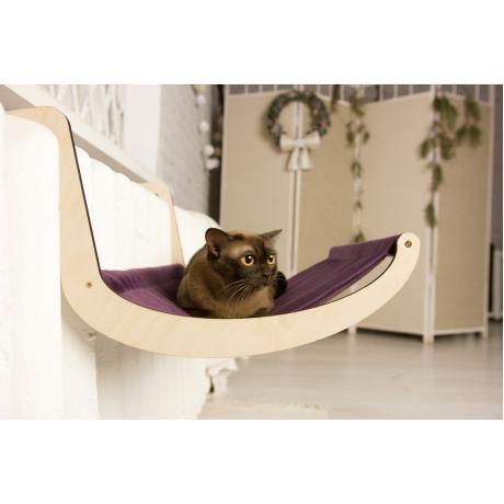 Гамак для кошки на батарею фиолетовый