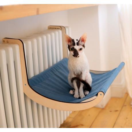 Гамак для кошки на батарею голубой