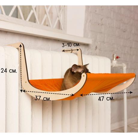 Гамак для кошки на батарею оранжевый