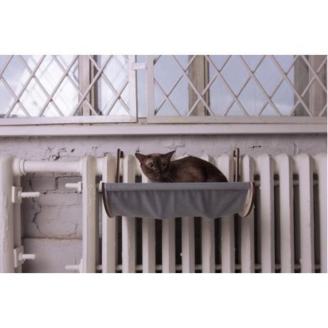 Гамак для кошки на батарею серый
