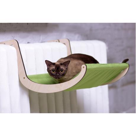 Гамак для кошки на батарею зеленый