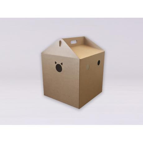 Домик из картона Кубик (коричневый)