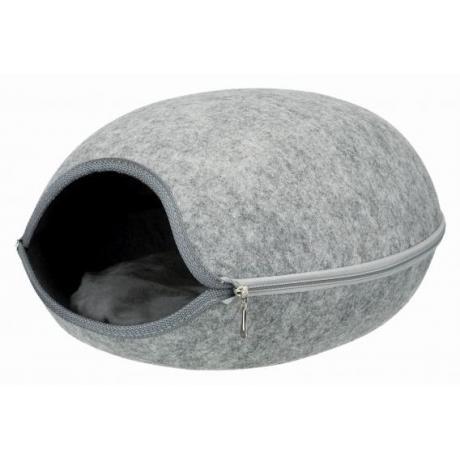 Лежак-пещера для кошек Luna, фетр, 40×24×46 cм, светло- серый