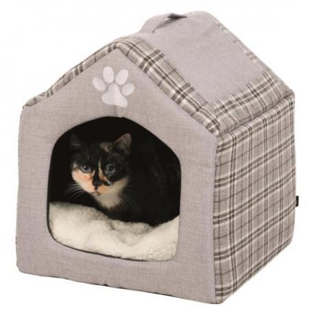 Домик-пещера для кошек Silas, 40×45×40 см, серый/кремовый