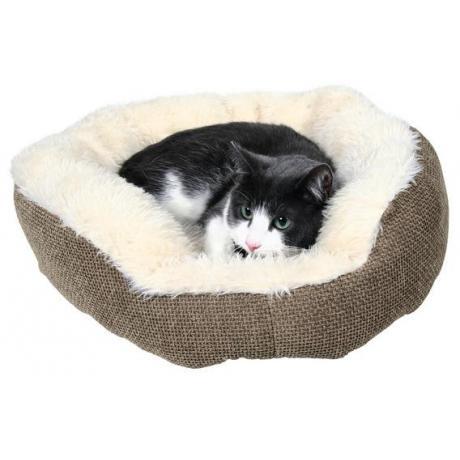 Лежак для кошки Yuma, ф 45 см, коричневый/белый