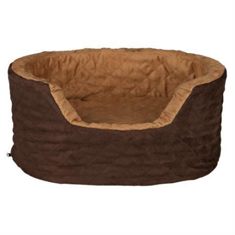 Лежак Benito с бортами, искуственная замша, 60х45х24 см, коричневый/светло-коричневый
