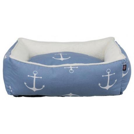 Лежак с бортиком Anchor, 50 × 40 см, синий/белый