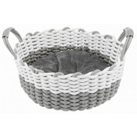 Лежак Nabou, ø 45 cм, серый/белый