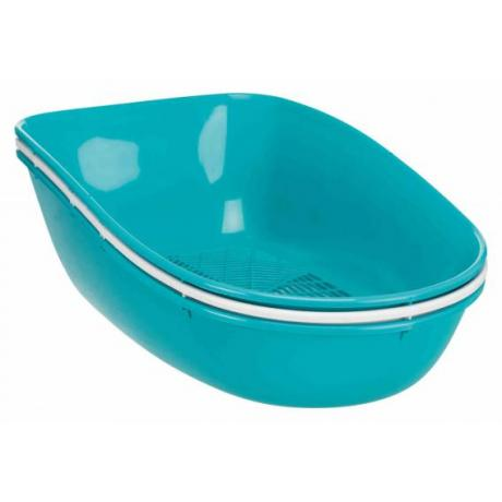 Кошачий туалет-домик Berto Top, 39 х 42 х 59 см, светло-голубой/серый/гранит