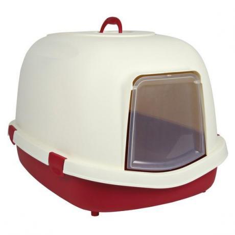 Туалет-домик для кошек Primo, 56 × 47 × 71 см, бордовый/кремовый