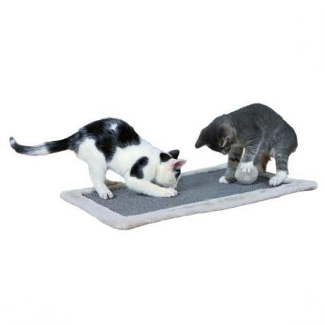 Когтеточка с бортиком из плюша для кошки, 55 × 35 см, светло-серый