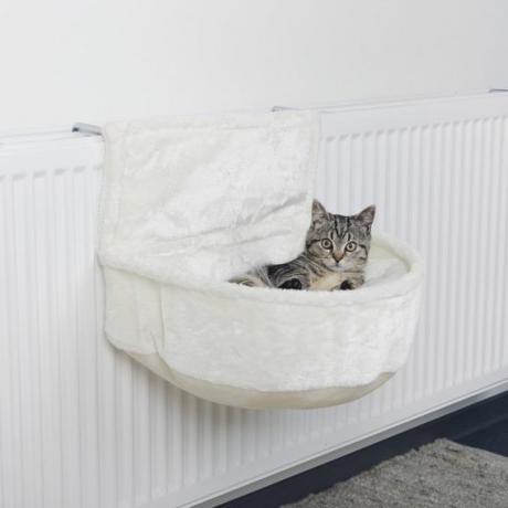 Лежак-гамак подвесной на радиатор, плюш, 45 × 13 × 33 см, белый