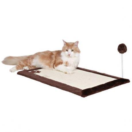 Когтеточка-коврик с игрушкой, 70х45 см, тёмно-коричневый