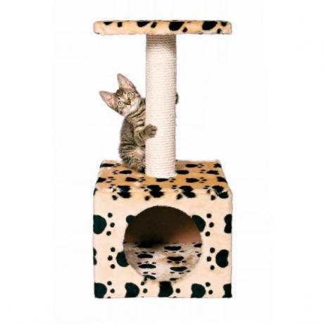 """Домик игровой для кошек Zamora с рисунком """"Кошачьи лапки"""", 61 см, бежевый"""