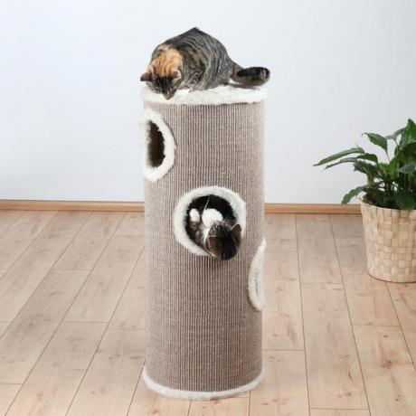 Домик-башня для кошки Edorado, ø 40 см/100 см, коричневый/бежевый