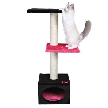 Домик игровой  для кошки Badalona, 109 см, плюш, чёрный/розовый