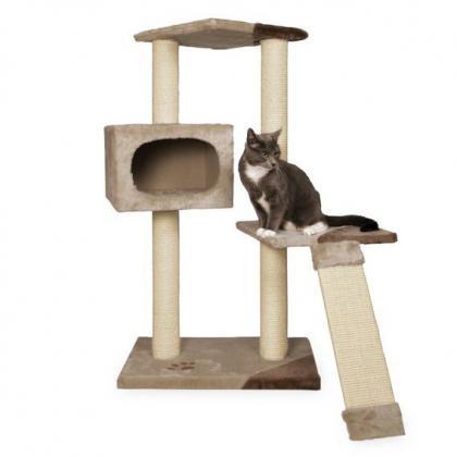 Домик игровой комплекс когтеточка для кошек Almeria, 106 см, бежевый/коричневый