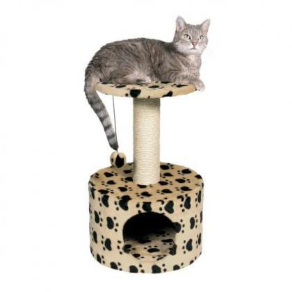 """Домик-когтеточка для кошек Toledo с рисунком """"Кошачьи лапки"""", 61 см, бежевый"""
