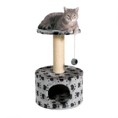 """Домик игровой комплекс для кошки Toledo, с рисунком """"Кошачьи лапки"""", 61 см, серый"""