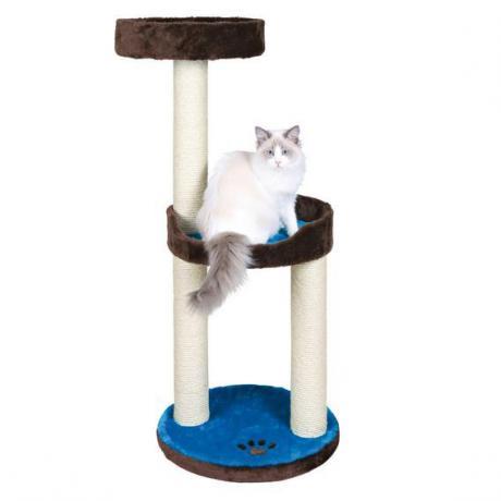 Домик для кошки Lugo, 103 см, плюш, коричневый/синий