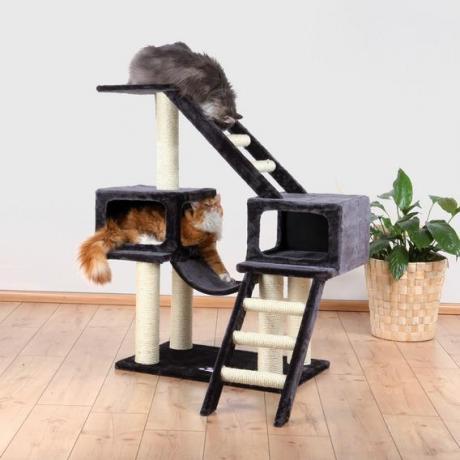 Домик игровой комплекс когтеточка для кошек Malaga, 109 см, плюш, антрацит