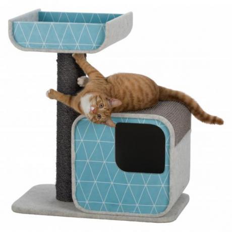 Домик для кошки Alondra, 72 см, светло-серо-пёстрый/аквамарин/серый