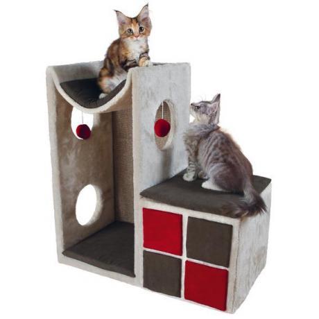 Домик-башня для кошки Nevio, 70 см, светло-серый/красный