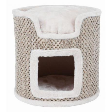 Домик для кошки Ria, 37 см, светло-серый/натуральный