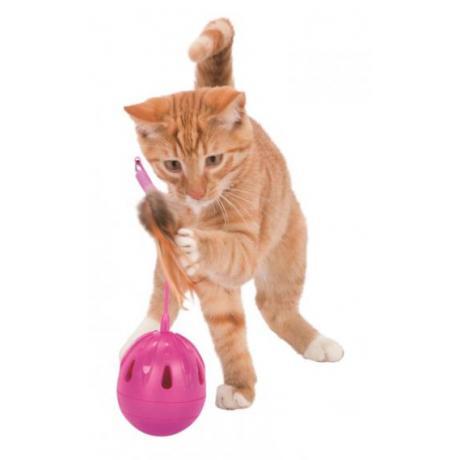 Игрушка для кошки Pop-Up-Egg с перьями и музыкой, пластик, ø 7 × 24 см, фуксия