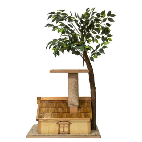 «Дерево с домиком» для кошек светлое