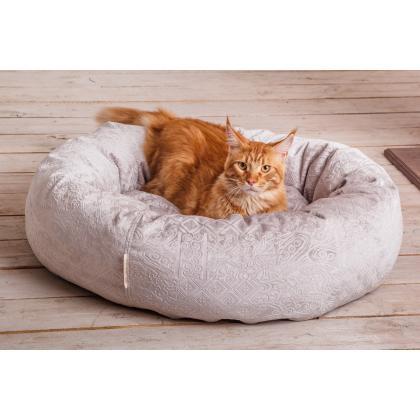"""Лежанка-пончик """"Уют"""" для кошек светлая  75 см"""