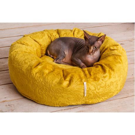 """Лежак-пончик """"Уют"""" для кошек желтая 60 см"""